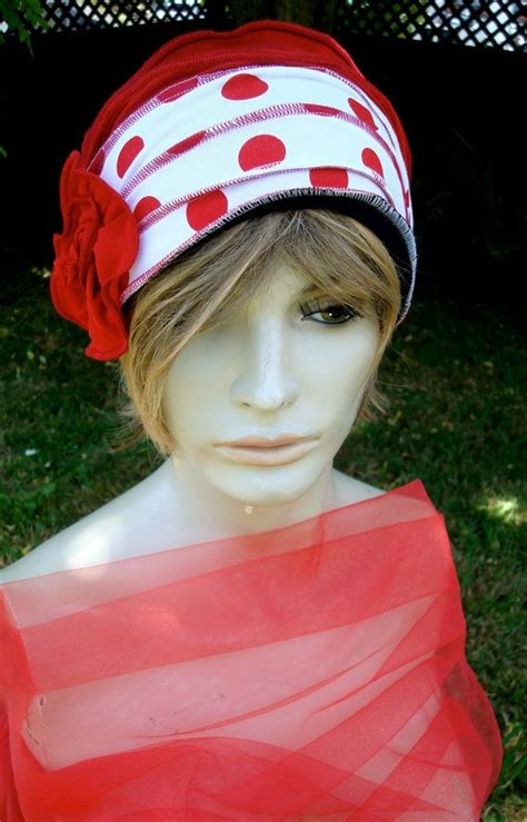 chemotherapy wigs with soft headband womens elegant hat red and white spots womens beanie