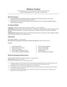 sle entry level web developer resume