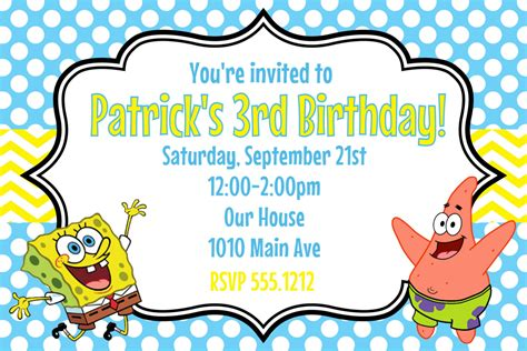 spongebob squarepants birthday party invitation printable 4x6