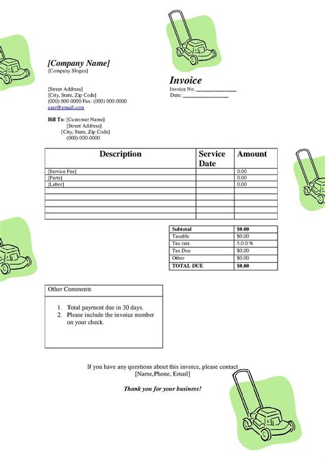 landscaping bill template free printable invoice template studio design