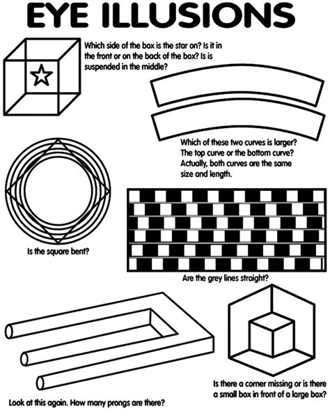 optical illusions visual aid worksheet | Eye illusions