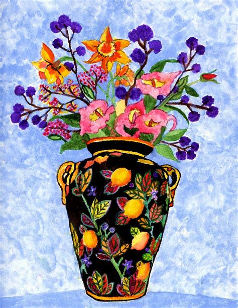 black vase with flowers painting by connie valasco