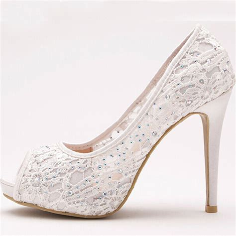 Lace Up Bridal Shoes by Wedopus Lace Up High Heels Lace Ivory Peep Toe Bridal
