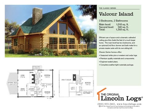 log home floorplan valcour island the original lincoln logs