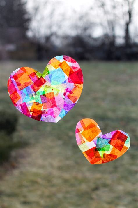 Tissue Paper Suncatcher Craft - rainbow suncatchers
