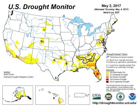 us drought map u s drought monitor update for may 2 2017 national centers for environmental information ncei
