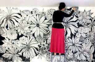 painting a mural on a wall with acrylic paint alisaburke hand painted statement wall