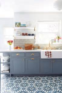 blue kitchen ideas emily henderson blue grey kitchen with concrete tiles in
