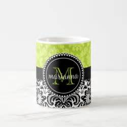 Elegant Coffee Mugs by Elegant Green Black Damask Personalized Coffee Mugs Zazzle
