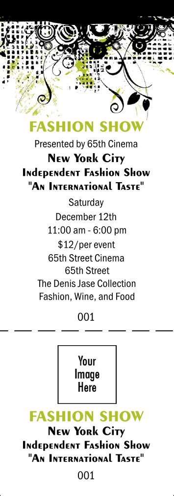 fashion show ticket template fashion show general admission ticket