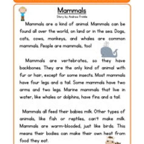 Worksheets For 2nd Grade Science by Mammals Science Reading Comprehension Worksheet