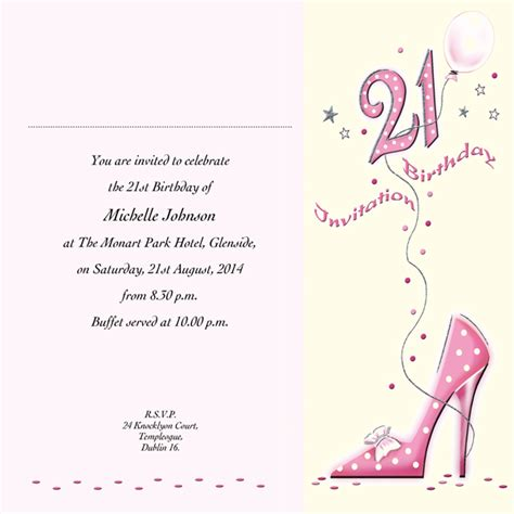 Occasion Card 21 4i 21st Birthday Wedding Invitations Accessoroes Memoriam Cards Baby 21st Birthday Invitation Templates