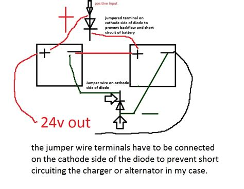 how does a diode work in a car charging 24v battery with 12v alternator and isolator motor vehicle maintenance repair stack
