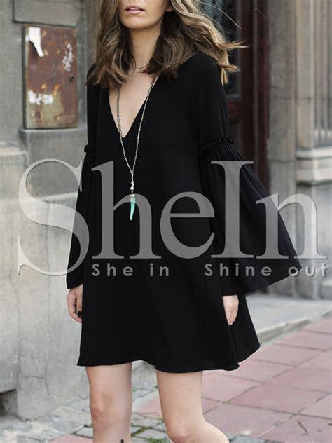 Hq 11481 Black V Neck Lace Top black sleeve v neck dress shein sheinside