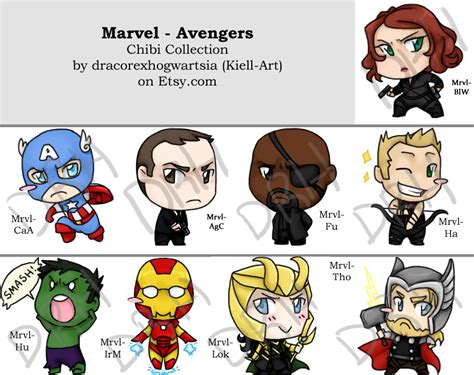 chibi collection marvel avengers by kiell art on