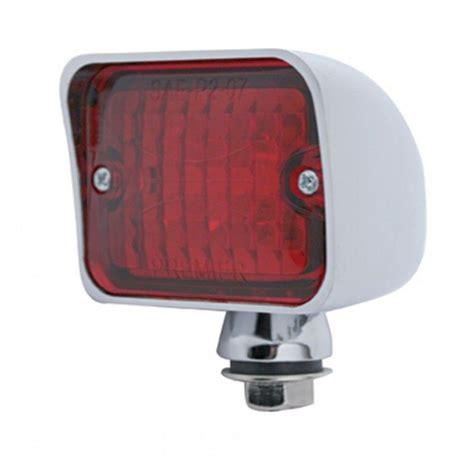 6 Red Led Large Rectangular Chrome Rod Light With Red Lens Big Led Lights