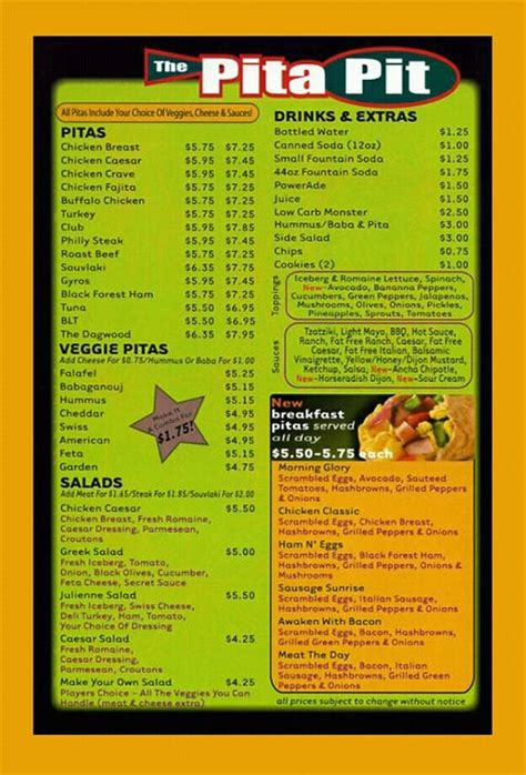 menu the prices are incorrect but you get the general