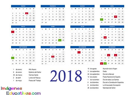 Calendarios 2018 Para Imprimir Calendario 2018 2 Imagenes Educativas