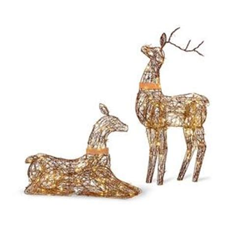 sale set 2 lighted rustic grapevine deer doe buck outdoor