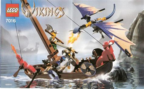 LEGO Viking Boat Against the Wyvern Dragon Instructions 7016, Vikings