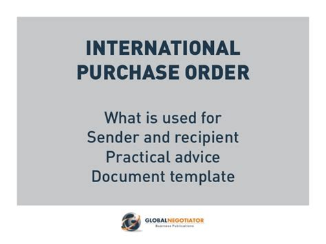 International Purchase Order Template international purchase order template and user guide