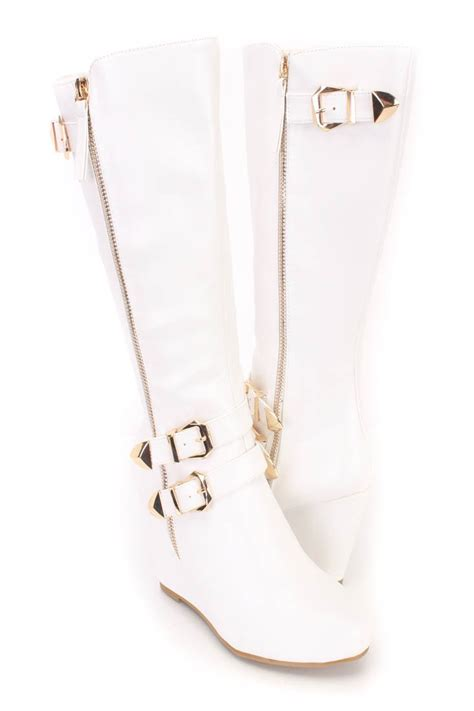 white buckle strappy wedge boots faux leather