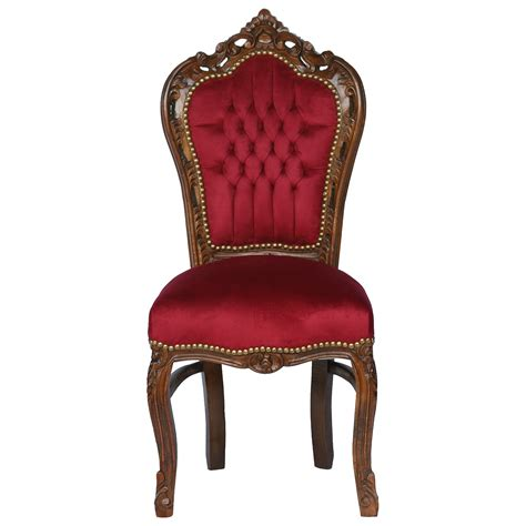 Red chair solid wood frame with burgundy velvet french luxury pure shop baroque style baroque