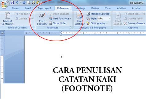 cara membuat catatan kaki dalam bahasa indonesia cara penulisan footnote catatan kaki yang baik