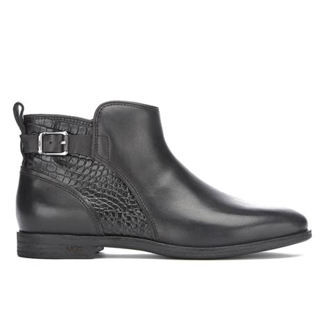 ugg s demi croc leather flat ankle boots black