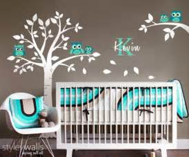 wall decal owls tree nursery sticker kids baby room boy decals ideas