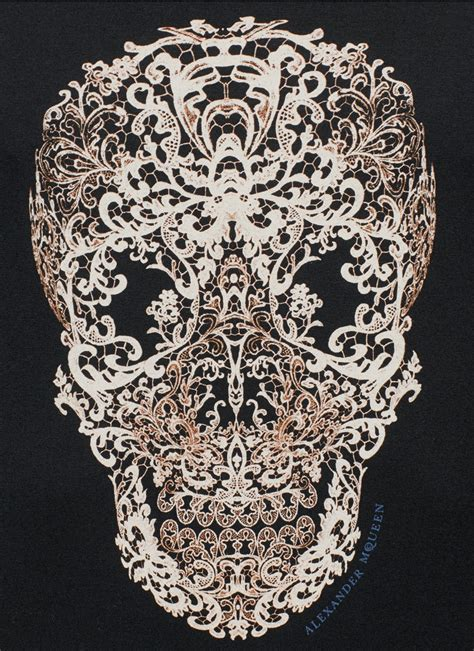 Lace Sleeve Print T Shirt lyst mcqueen lace skull print sleeve t