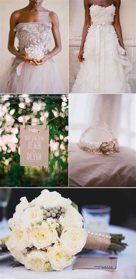 romantic wedding inspiration neutral color palette ivory