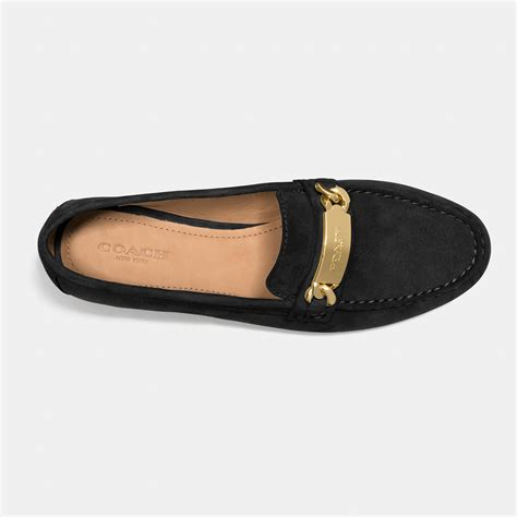 coach loafers lyst coach kimmie topstitched suede loafers in black