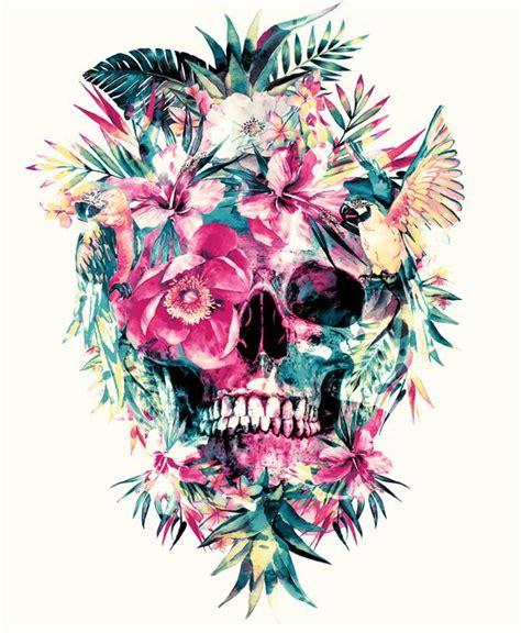 Flower Skull skull flowers artprint skulls flowers ideas