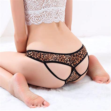 teens wear panties with open bottom fashion leopard sexy ladies underwear female underwear