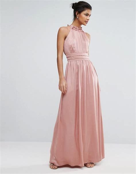 Maxi Hs high neck satin maxi dress