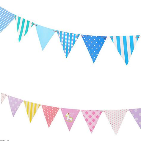 Bunting Flag Accphotobooth 1 1pcs blue pink bunting banner cotton cloth baby shower birthday triangle flags pennant