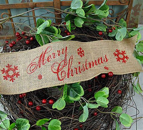 merry christmas wired burlap ribbon    yards