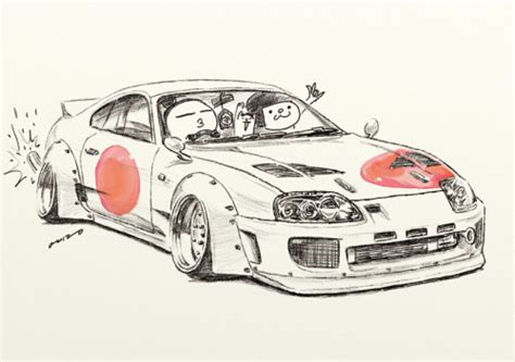 stanced cars drawing toyota supra