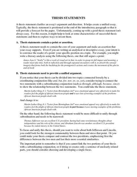 Expository Essay Thesis Statement Exles by Exles Of Thesis Statements For Essays
