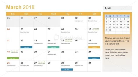 Editable Calendar Slide For New Year Slidemodel Powerpoint Calendar Template