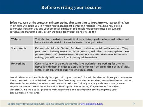 how to write a consulting resume management consulting resume sle