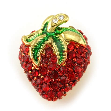 Pin Fashionable Strawberry strawberry fruit pin brooch green enamel