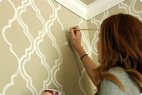bathroom wall stencil ideas painted wallpaper a tutorial jones design company