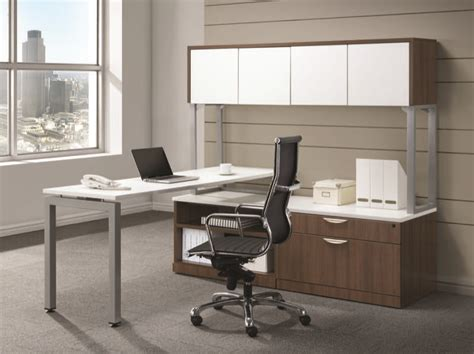 desk with overhead storage lucid systems l shaped desk with storage return and