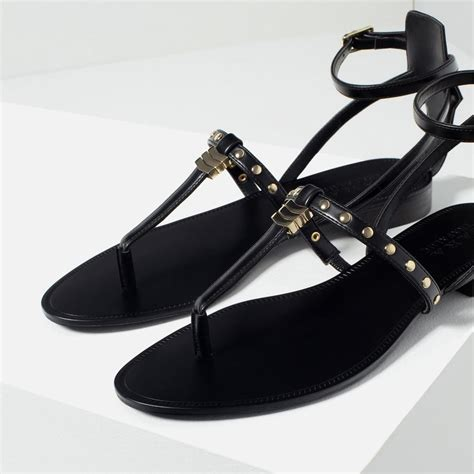 Sandal Flat Zara Nn41 Best Seller zara strappy flat studded black gold detail sandals tradesy