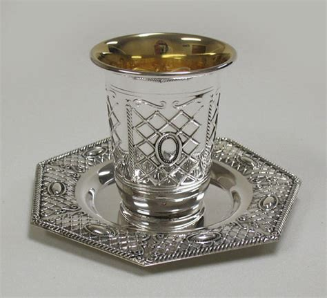 Jerhigh Tray 100 Gr Liver sterling silver kidussh cup with tray