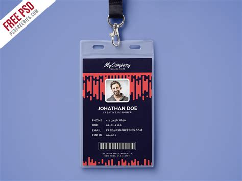 id card photoshop template free corporate company photo identity card template psd