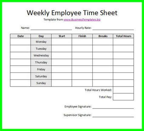 Time Card Template For Bartender by 10 Free Printable Bi Weekly Time Sheets Supplyletter