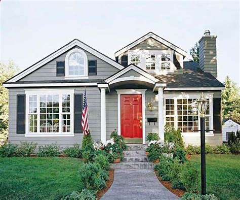 gray house gray house dark blue shutters charcoal gray roof red door white trim white